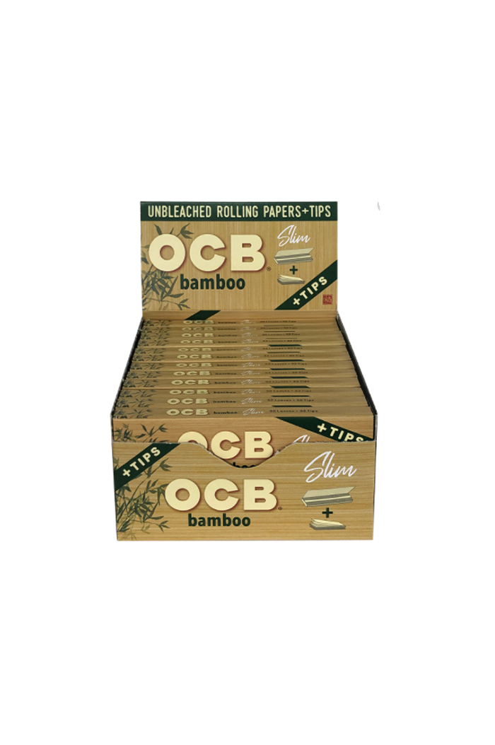 OCB Bamboo Rolling Papers King Size Slim 32-Count Display of 24
