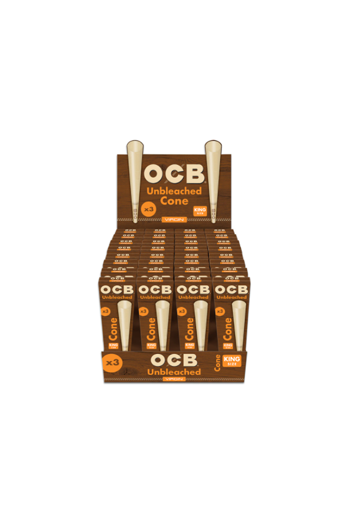 OCB Virgin Pre-Roll Cone King Size 3 Count Display of 32 Wholesale