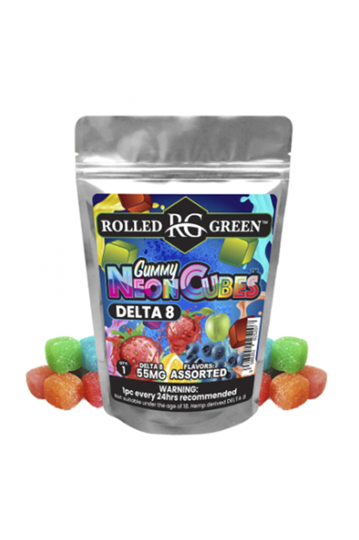Rolled Green Delta 8 Neon Cubes Assorted 3-Pack Wholesale
